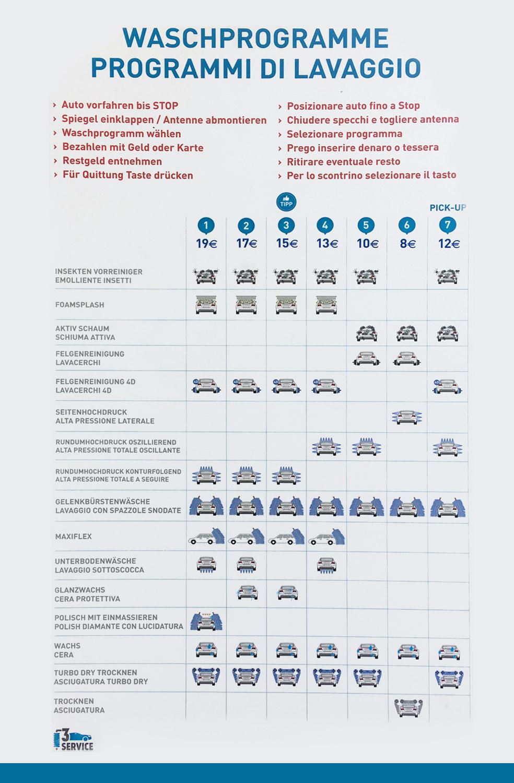 24 h Carwash Terlan - Autowaschanlage Oberrauch - Waschprogramme