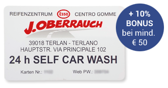 Kundenkarte J. Oberrauch - Self Carwash Terlan / Bozen mit Rabattkarte